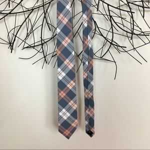 THE COTTON TIE  by J CREw. Plaid. Peach and blue